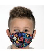 Двуслойна детска маска Графити с метален стек 6-12 г