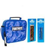 Fortnite сет - 3 части - чанта за храна, комплект от 6 цветни молива, комплект от 2 химикала