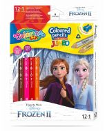 Colorino Disney Frozen II JUMBO Триъгълни цветни моливи 12 цв.+1 (с острилка)