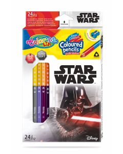 Colorino Marvel Star Wars Триъгълни цветни моливи  12 бр. /24 цвята (с острилка)