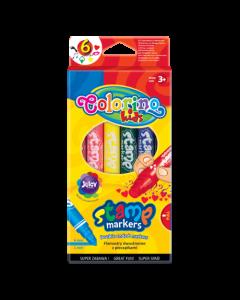 Маркери за рисуване с печати 6 цвята