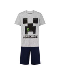 Пижама Minecraft Creeper Gray с къс ръкав и панталон