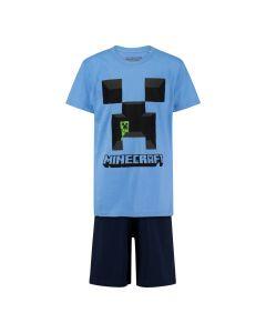 Пижама Minecraft Creeper Blue с къс ръкав и панталон