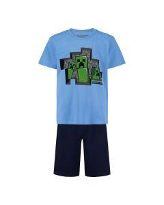 Пижама Minecraft 3 Creepers Blue с къс ръкав и панталон