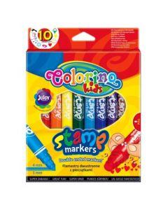 Маркери за рисуване с печати 10 цвята