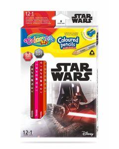Colorino Marvel Star Wars Триъгълни цветни моливи 12 цвята + 1 (с острилка)