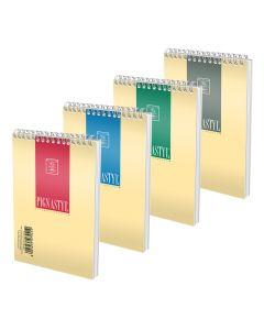 Бележник спирала 8Х12 см 50 листа квадратчета Pigna Style, различни корици