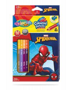 Colorino Marvel Spider-Man Триъгълни цветни моливи  12 бр. /24 цвята (с острилка)