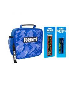 Fortnite сет - 3 части - чанта за храна, комплект от 6 цветни молива, комплект от 2 химикала 1