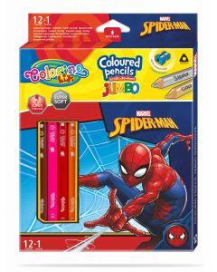 Colorino Marvel Spider-Man JUMBO Триъгълни цветни моливи 12 цв.+1 (с острилка)