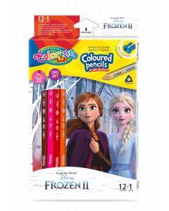 Colorino Disney Frozen II Триъгълни цветни моливи 12 цвята + 1 (с острилка)