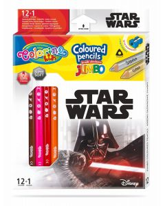 Colorino Marvel Star Wars JUMBO Триъгълни цветни моливи 12 цв.+1 (с острилка)