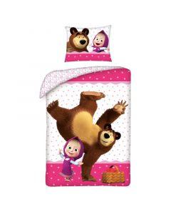 Детски спален комплект Маша и Мечока Розов
