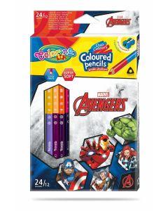 Colorino Marvel Avengers Триъгълни цветни моливи  12 бр. /24 цвята (с острилка)
