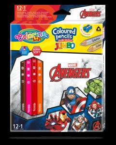 Colorino Marvel Avengers JUMBO Триъгълни цветни моливи 12 цв.+1 (с острилка)