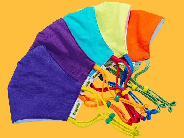 Crayola  детски маски за лице в сет от пет цвята за всеки ден от седмицата